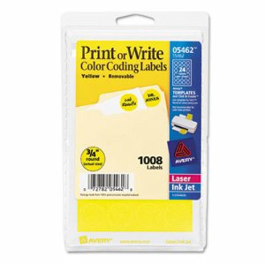 """Printable Removable Color-Coding Labels, 3/4"""" dia, Yellow, 1008/Pack"""