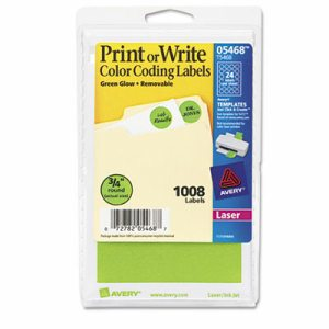 "Printable Removable Color-Coding Labels, 3/4"" dia, Neon Green, 1008/Pack"