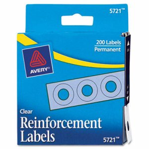 """Dispenser Pack Hole Reinforcements, 1/4"""" Dia, Clear, 200/Pack"""