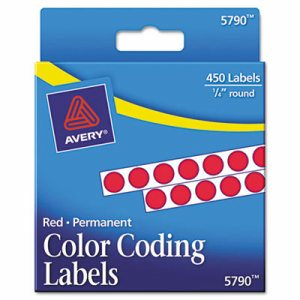 """Permanent Self-Adhesive Round Color-Coding Labels, 1/4"""" dia, Red, 450/Pack"""