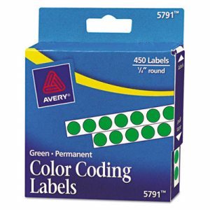 """Permanent Self-Adhesive Round Color-Coding Labels, 1/4"""" dia, Green, 450/Pack"""