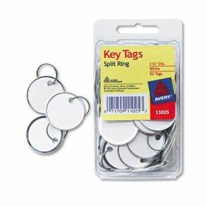 Card Stock Metal Rim Key Tags, 1 1/4 dia, White, 50/Pack