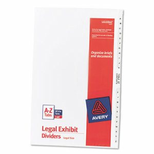 Avery-Style Legal Exhibit Side Tab Divider, Title: A-Z, 14 x 8 1/2, White