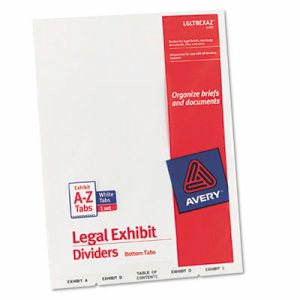 Avery-Style Legal Exhibit Bottom Tab Divider, Title: Exhibit A-Z, Letter, White