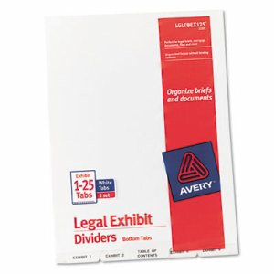 Avery-Style Legal Exhibit Bottom Tab Divider, Title: Exhibit 1-25, Letter, White