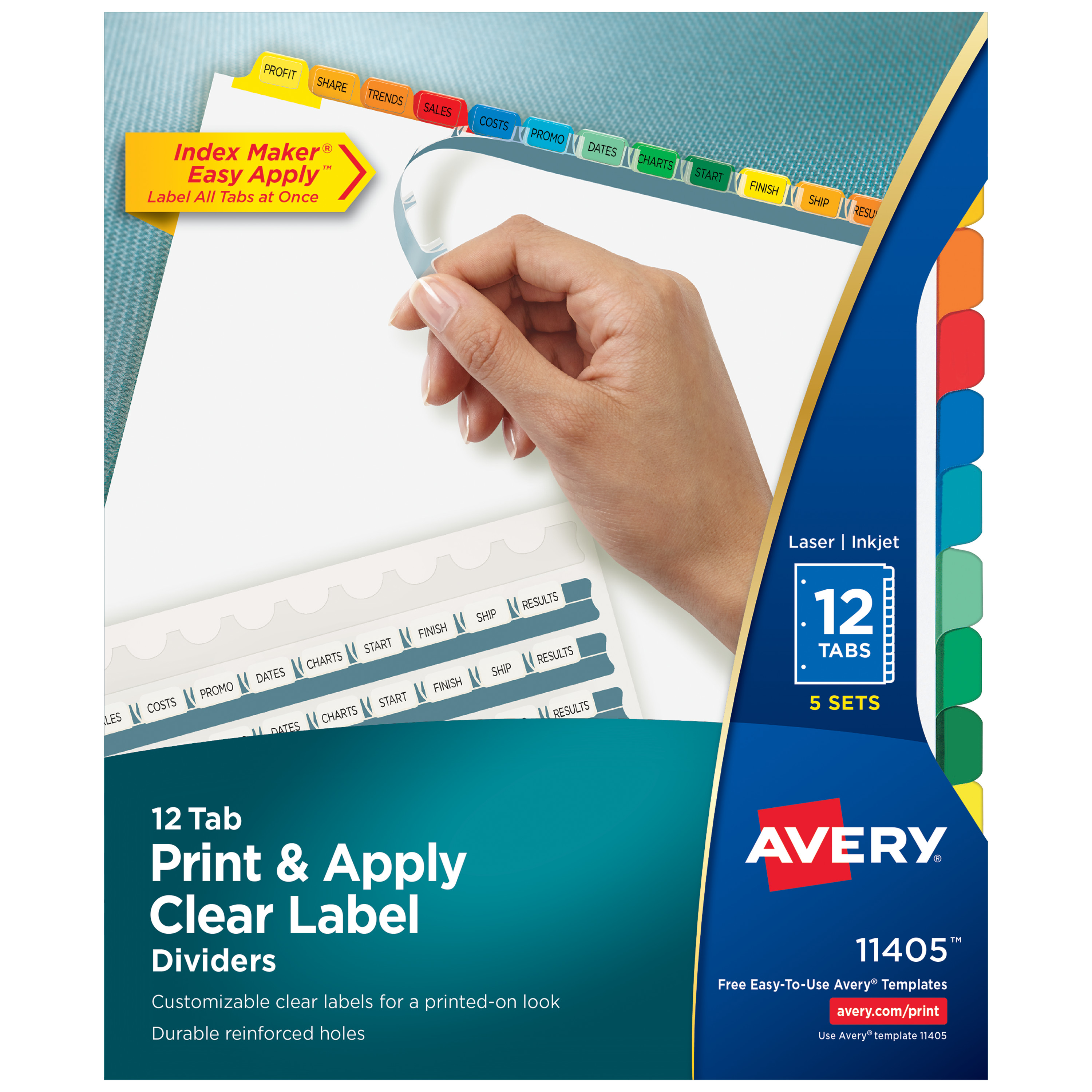 Print & Apply Clear Label Dividers w/Color Tabs, 12-Tab, Letter, 5 Sets