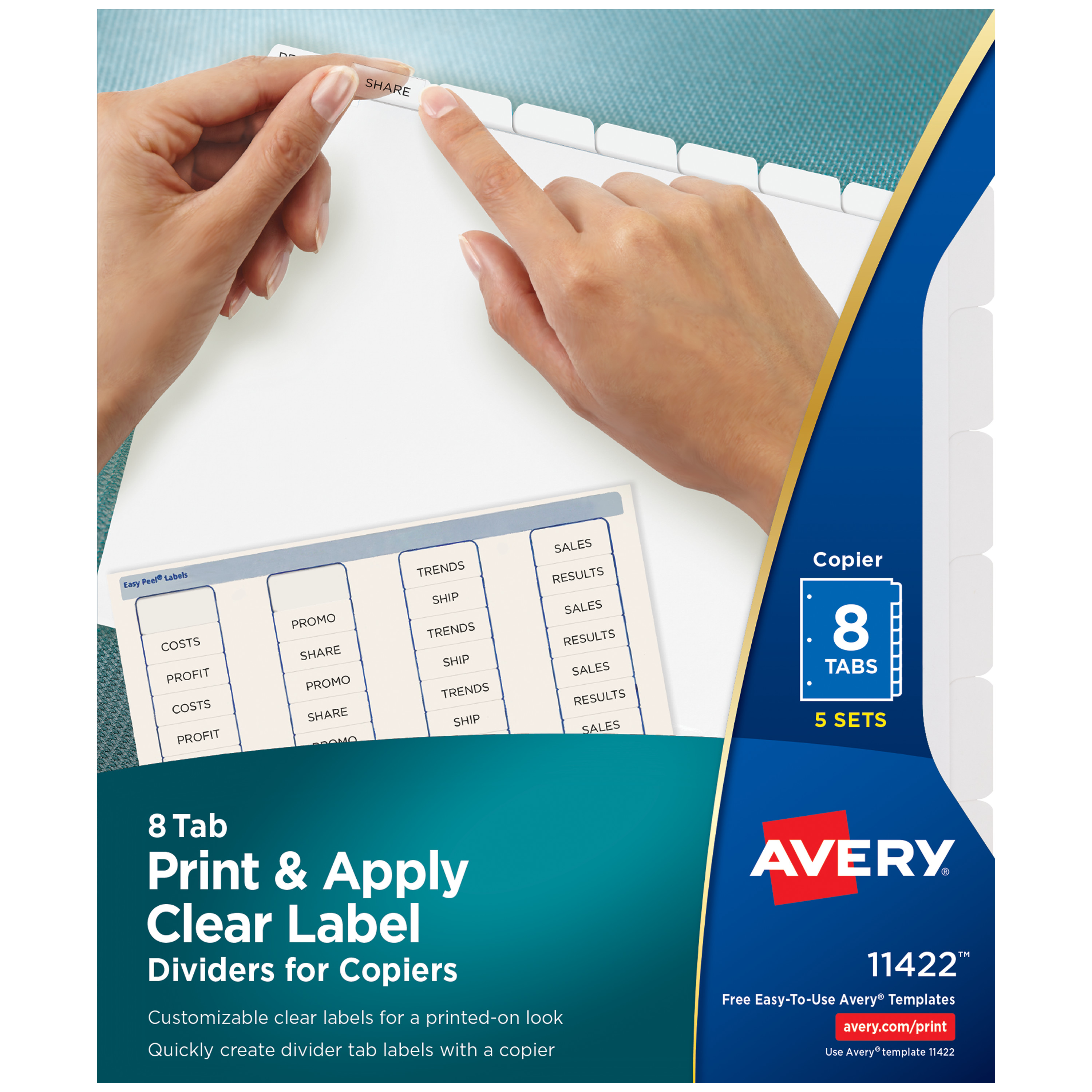 Print & Apply Clear Label Dividers w/White Tabs, Copiers, 8-Tab, Letter, 5 Sets