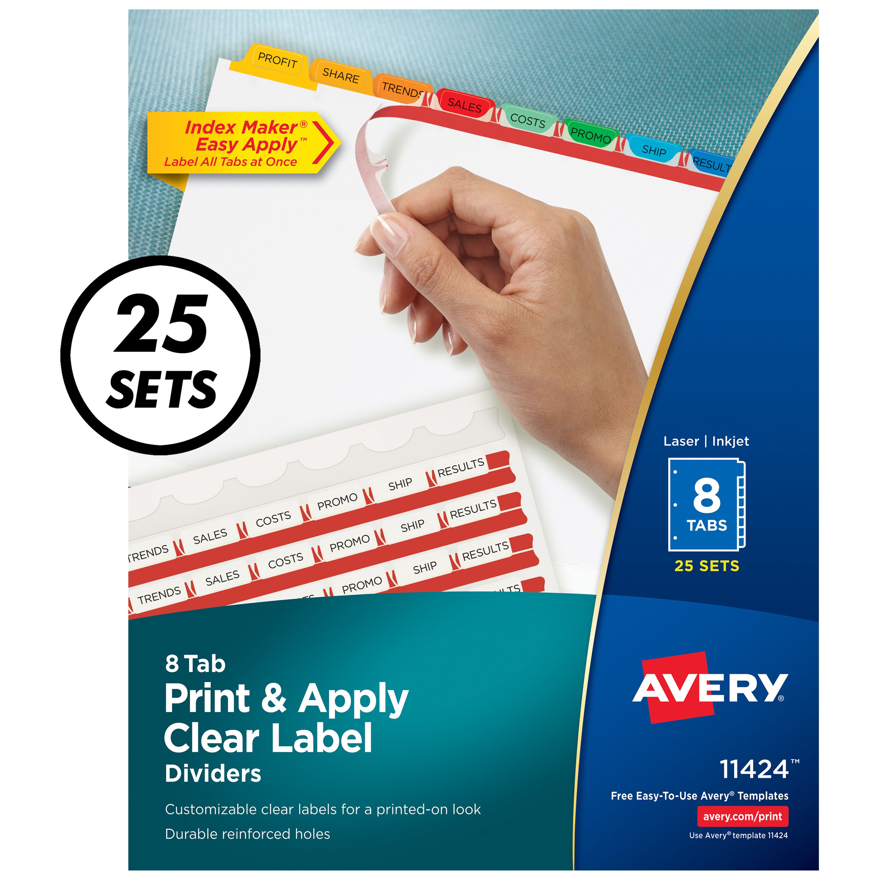 Print & Apply Clear Label Dividers w/Color Tabs, 8-Tab, Letter, 25 Sets