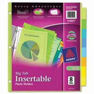 Insertable Big Tab Plastic Dividers, 8-Tab, Letter