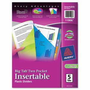 Insertable Big Tab Plastic Dividers w/Double Pockets, 5-Tab, 11 x 9