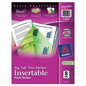 Insertable Big Tab Plastic Dividers w/Double Pockets, 8-Tab, 11 x 9