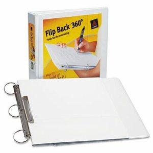 "FlipBack 360 Binder w/Round Rings, 11 x 8 1/2, 1"" Cap, White"