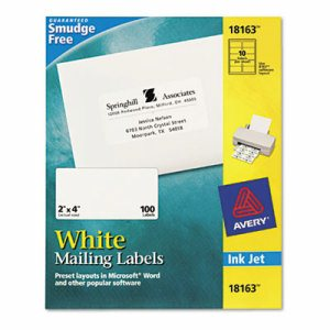 Shipping Labels with TrueBlock Technology, Inkjet, 2 x 4, White, 100/Pack