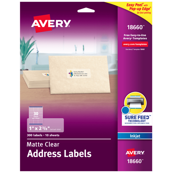 Clear Easy Peel Address Labels, Inkjet, 1 x 2 5/8, 300/Pack