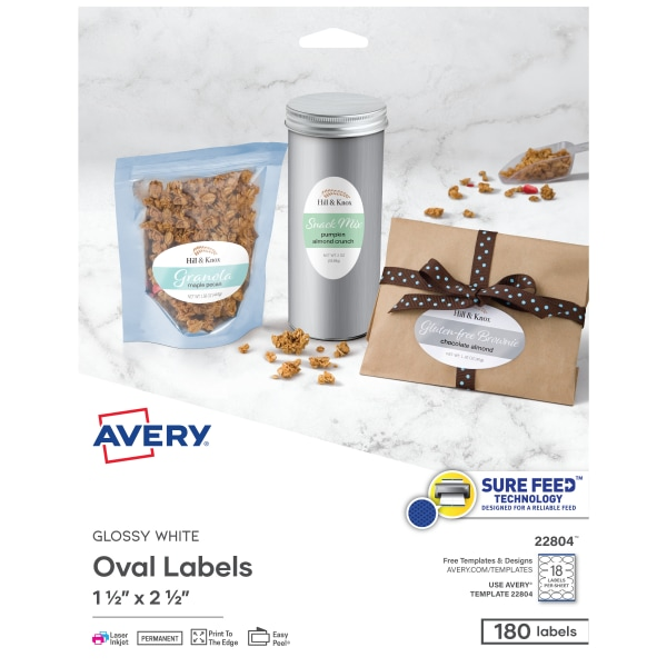 Oval Print-to-the-Edge Easy Peel Labels, 1 1/2 x 2 1/2, Glossy White, 180/Pack