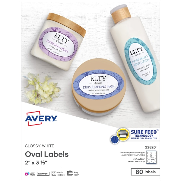 Oval Print-to-the-Edge Labels, 2 x 3 1/3, Glossy White, 80/Pack