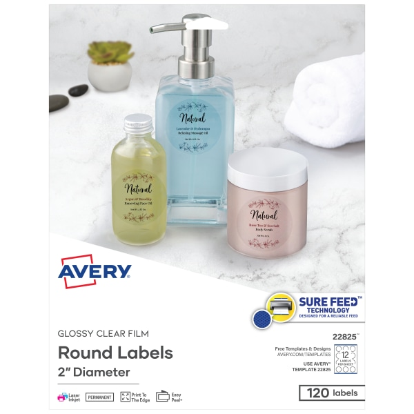 "Round Print-to-the-Edge Labels, 2"" dia, Glossy Clear, 120/Pack"