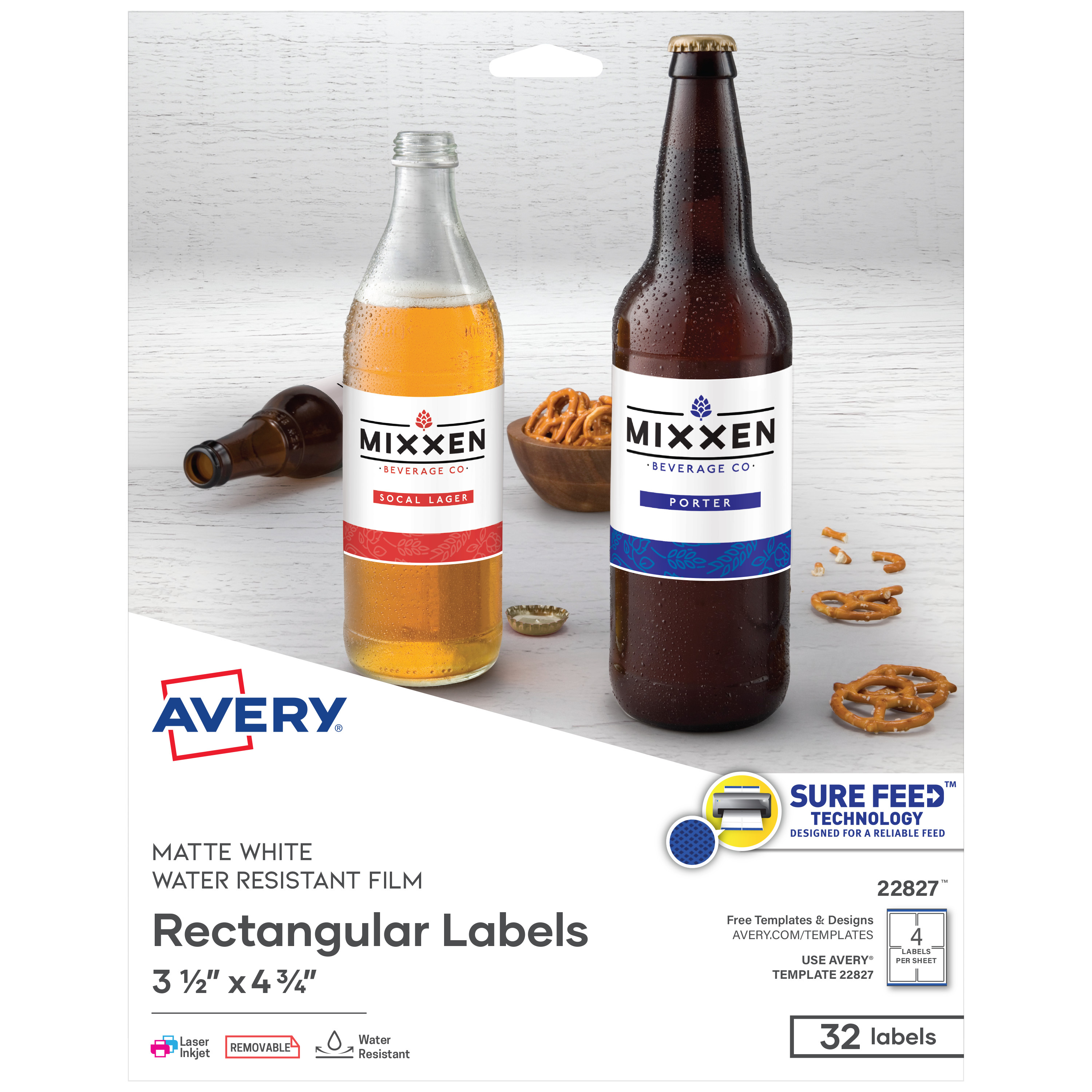 Print-to-the-Edge Removable Labels w/TrueBlock, 3 1/2 x 4 3/4, White, 32/Pack