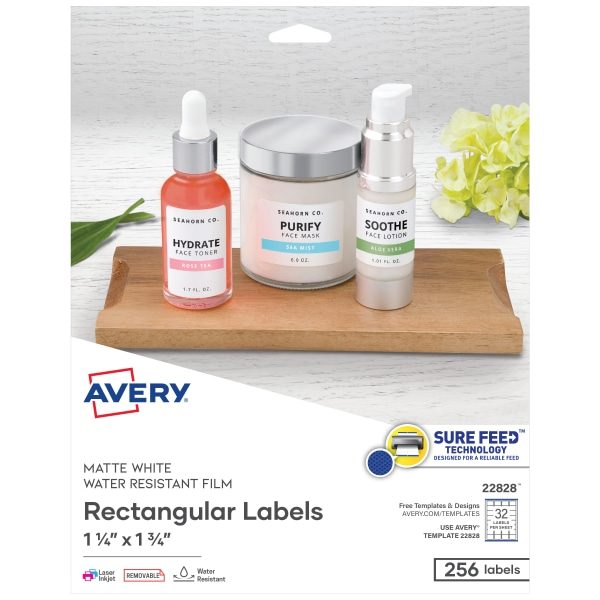 Removable Rectangle Labels w/TrueBlock Technology, 1 1/4 x 1 3/4, Glossy, 256/PK