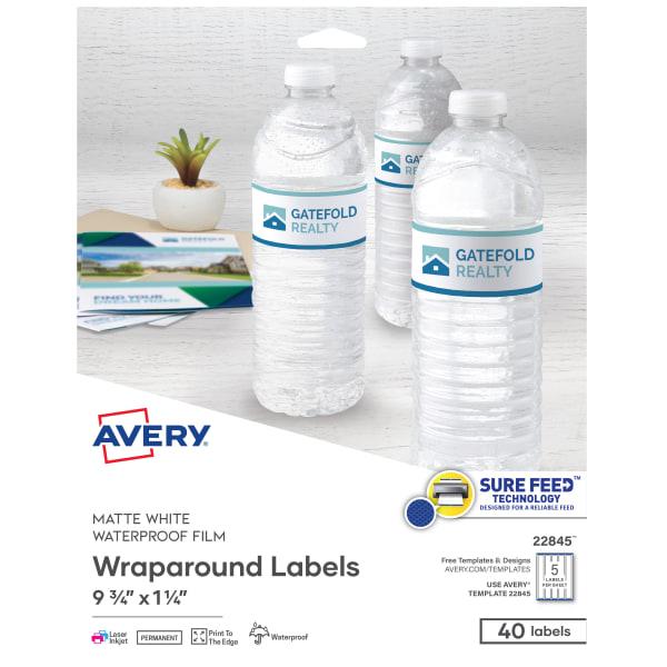 Durable Wraparound Printer Labels, 9 3/4 x 1 1/4, White, 40/Pack
