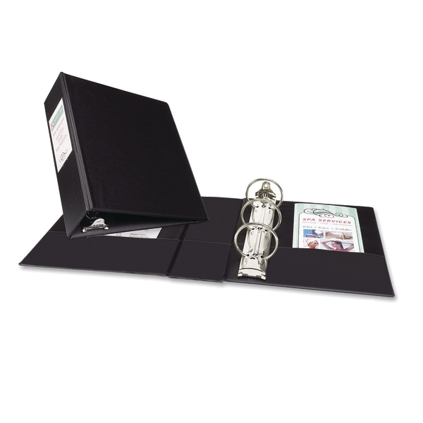 """Mini Durable Binder with Round Rings, 5 1/2 x 8 1/2, 2"""" Capacity, Black"""