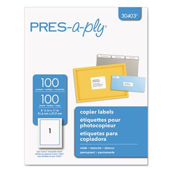 White Copier Full-Sheet Labels, 8 1/2 x 11, 100/Box