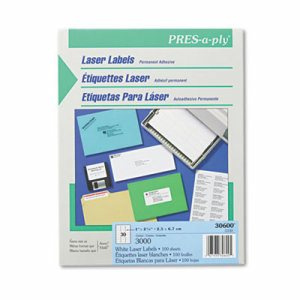 Laser Address Labels, 1 x 2 5/8, White, 3000/Box