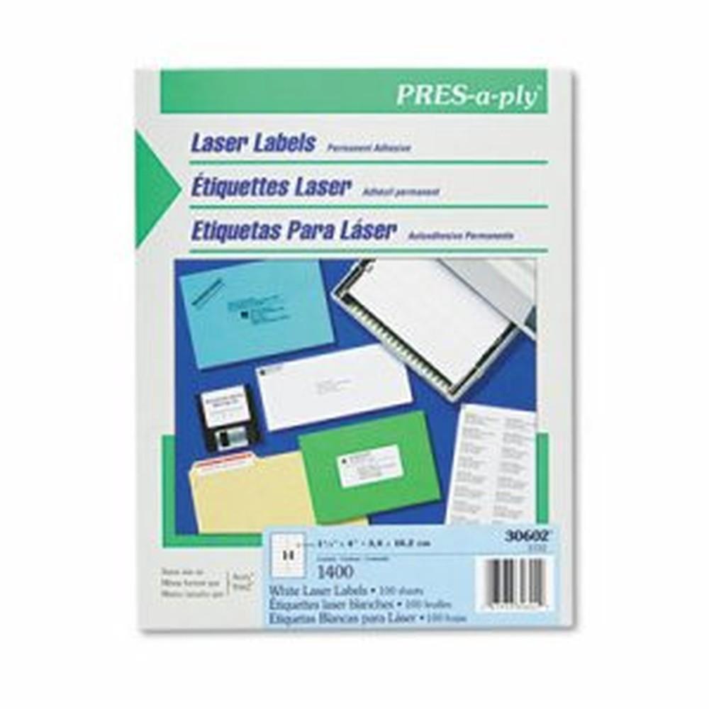 Laser Address Labels, 1 1/3 x 4, White, 1400/Box