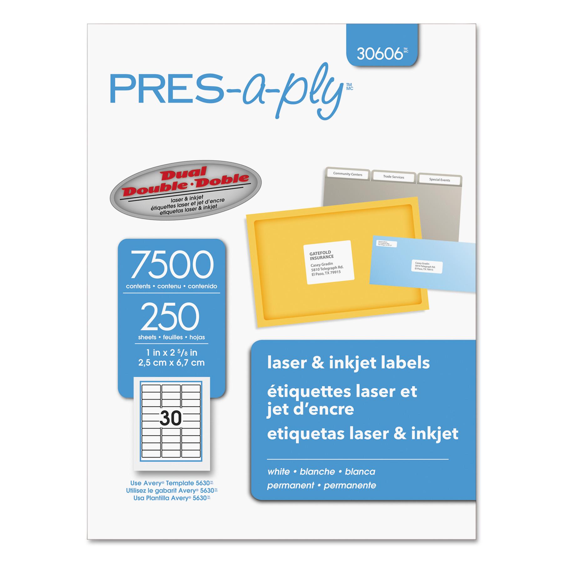 Laser Address Labels, 1 x 2 5/8, White, 7500/Box
