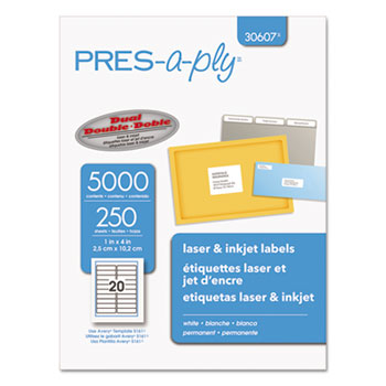 Laser Address Labels, 1 x 4, White, 5000/Box
