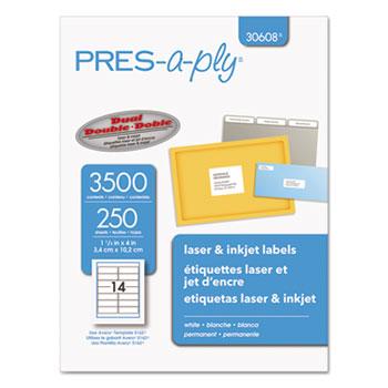 Laser Address Labels, 1 1/3 x 4, White, 3500/Box