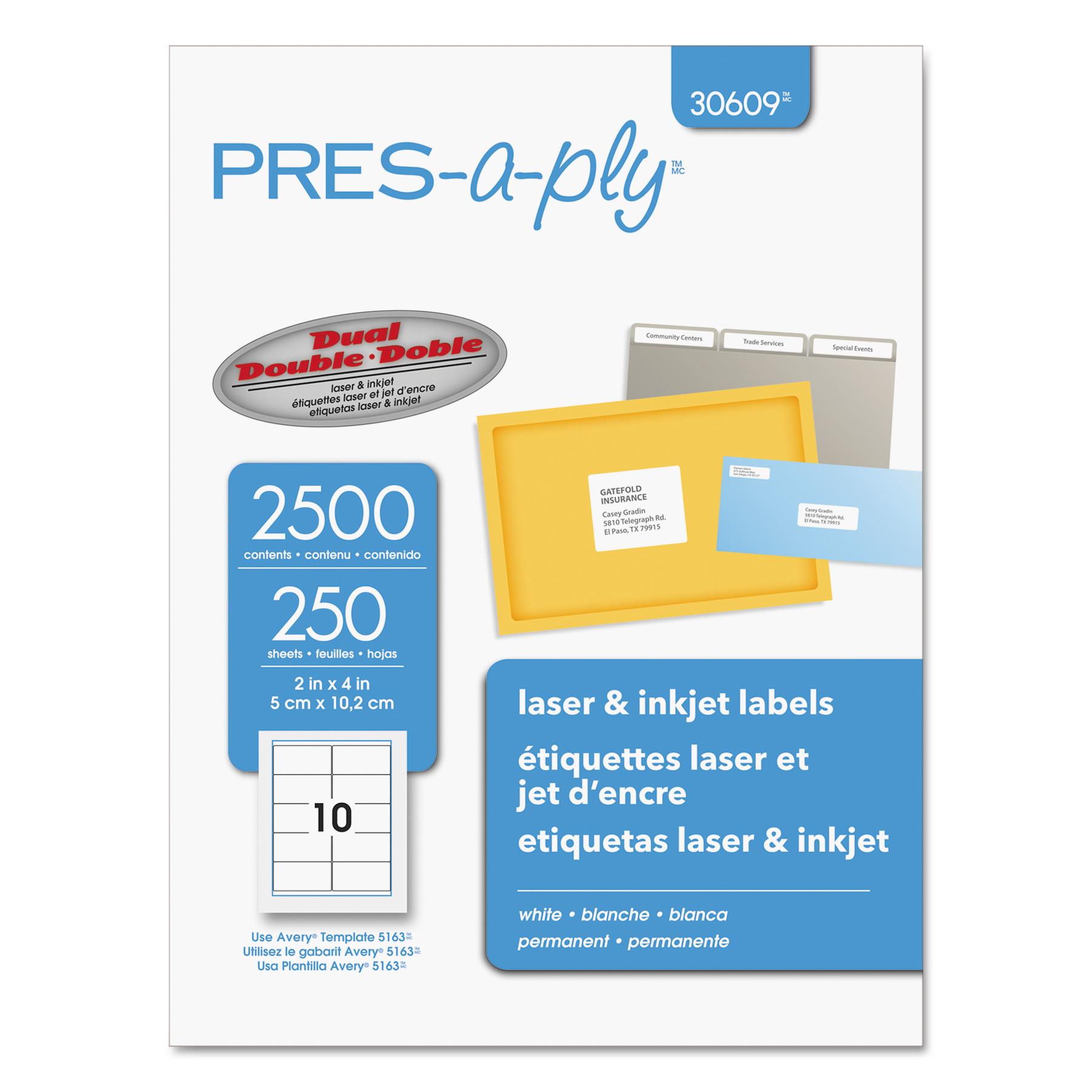 Laser Shipping Labels, 2 x 4, White, 2500/Box
