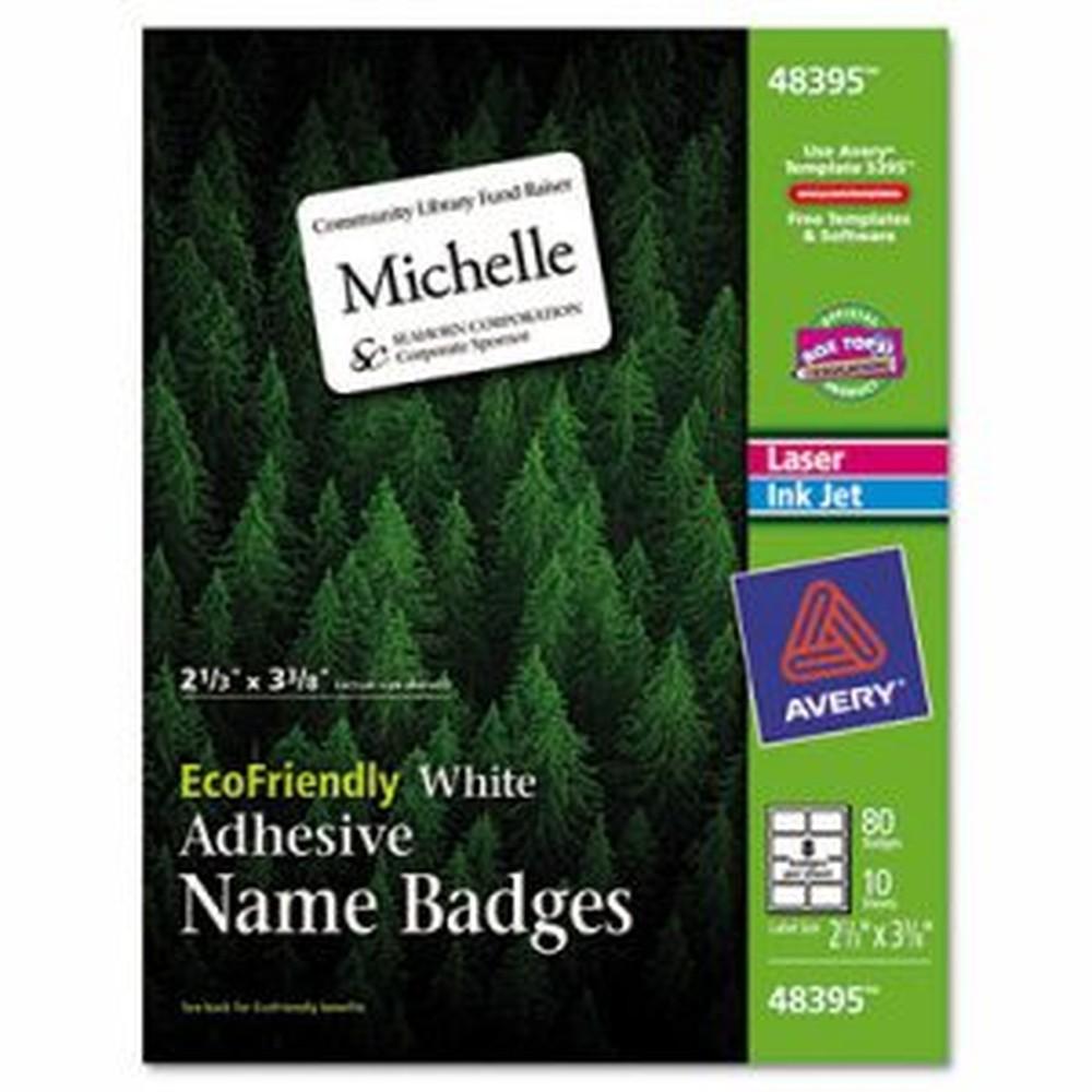 EcoFriendly Adhesive Name Badge Labels, 2 1/3 x 3 3/8, White, 80/Pack