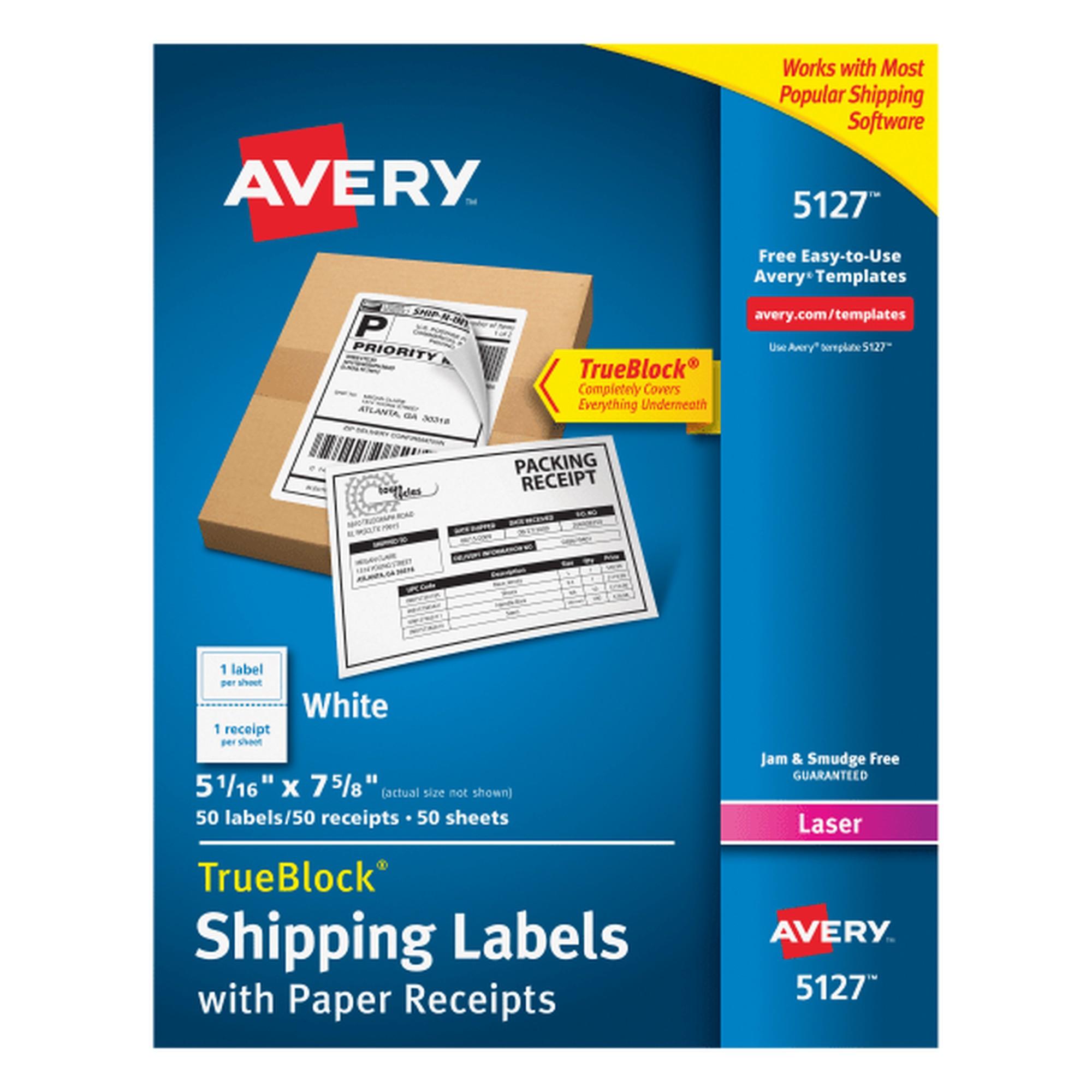 Shipping Labels w/Paper Receipt, TrueBlock, 5 1/16 x 7 5/8, White, 50/Pack