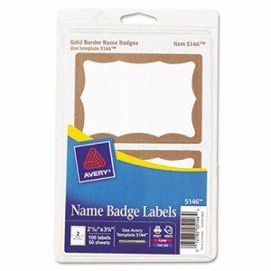 Printable Self-Adhesive Name Badges, 2-11/32 x 3-3/8, Gold Border, 100/Pack