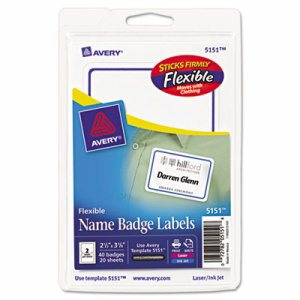 Flexible Self-Adhesive Laser/Inkjet Badge Labels, 2 11/32 x 3 3/8, BE, 40/PK