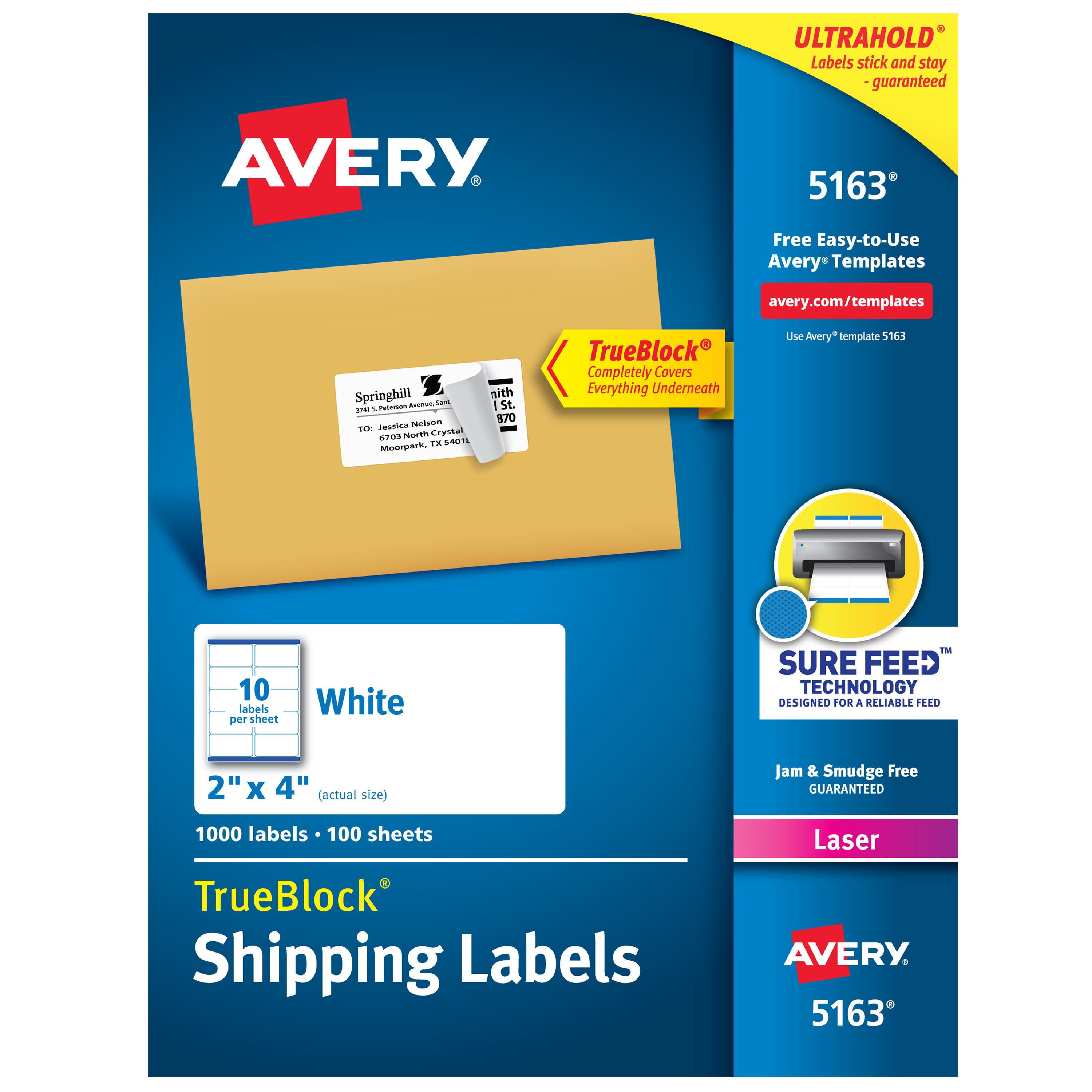 Shipping Labels with TrueBlock Technology, Laser, 2 x 4, White, 1000/Box