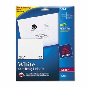 Shipping Labels with TrueBlock Technology, Laser, 3 1/3 x 4, White, 150/Pack