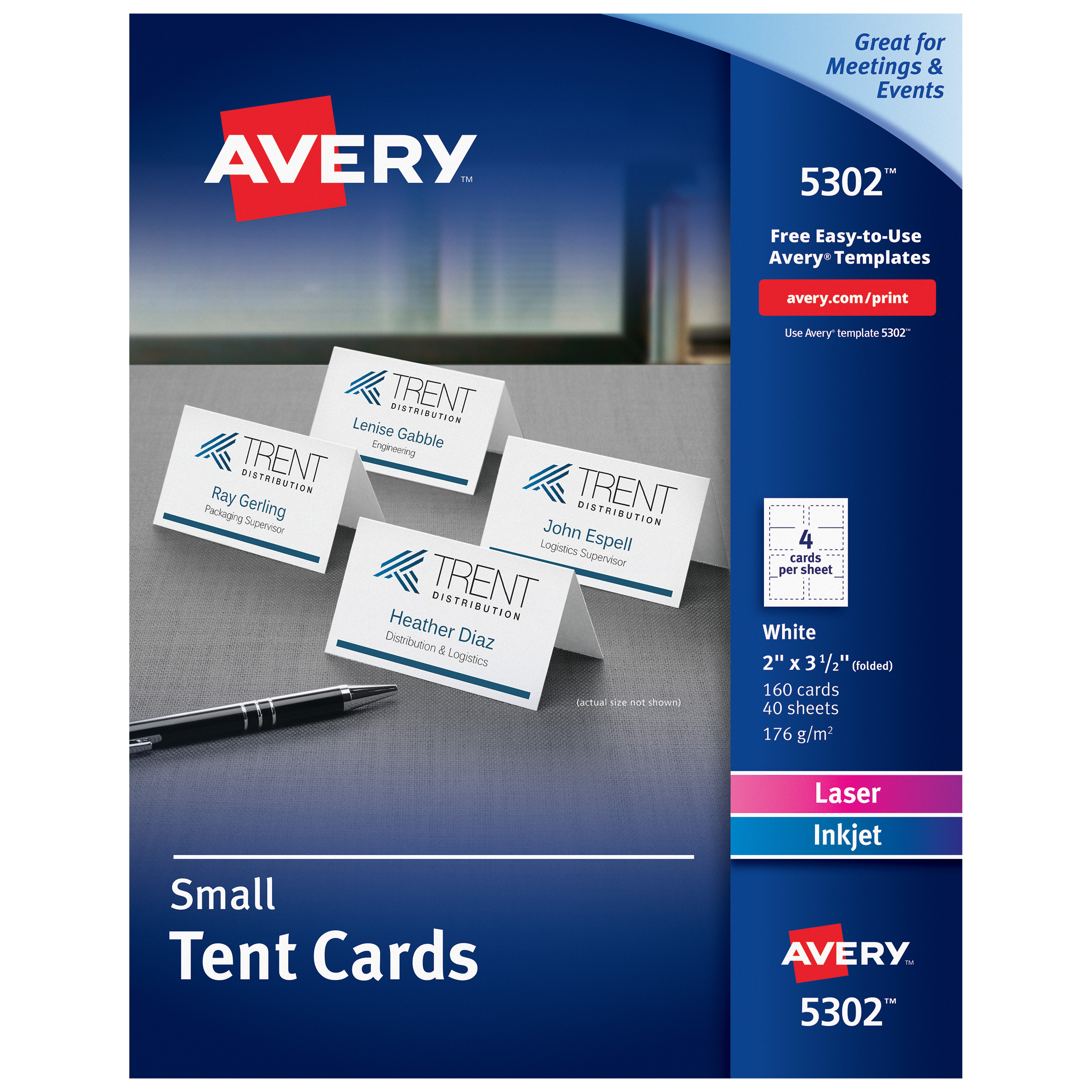 Small Tent Card, White, 2 x 3 1/2, 4 Cards/Sheet, 160/Box