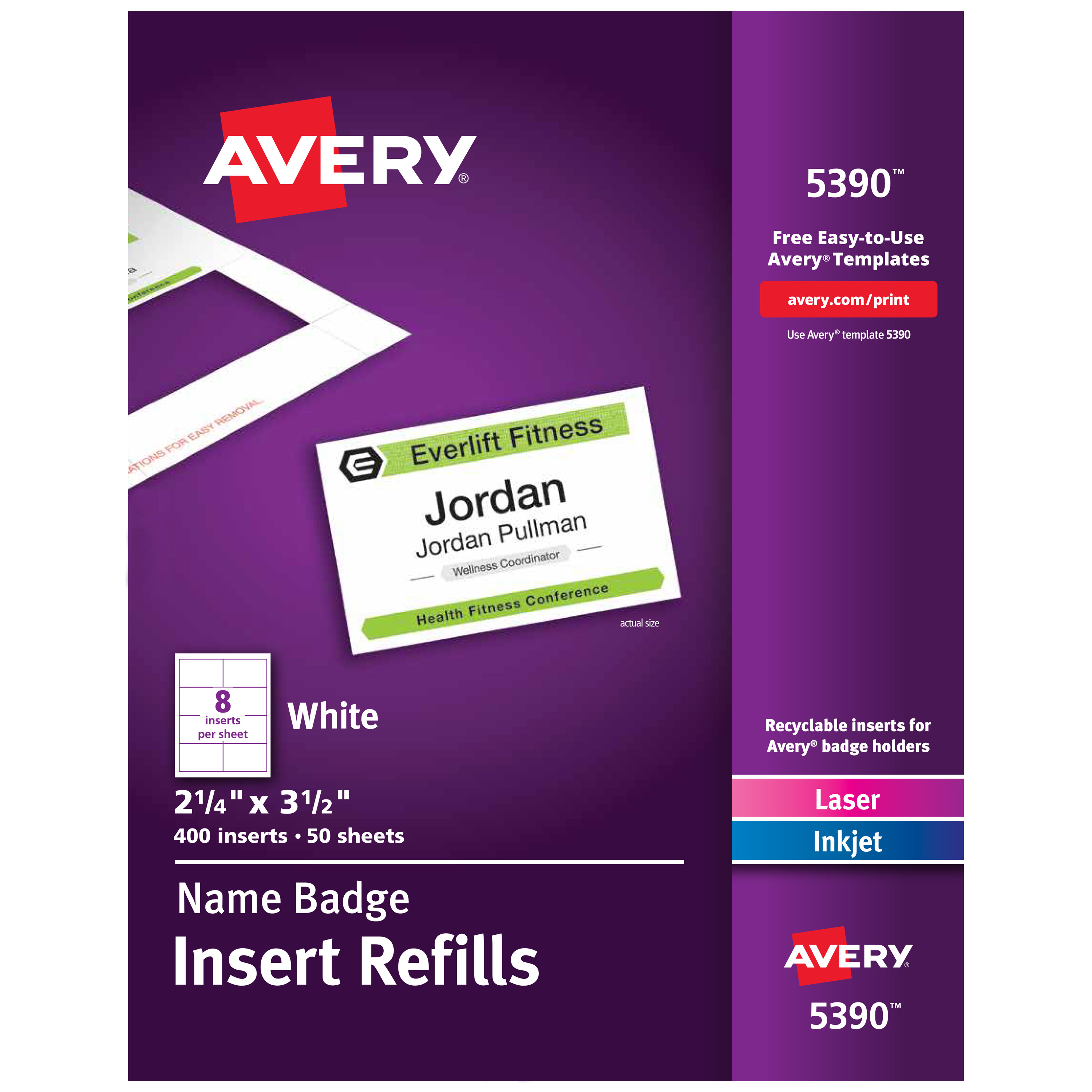 Additional White Laser/Inkjet Insert for Badge Holder,2 1/4 x 3 1/2,White,400/BX