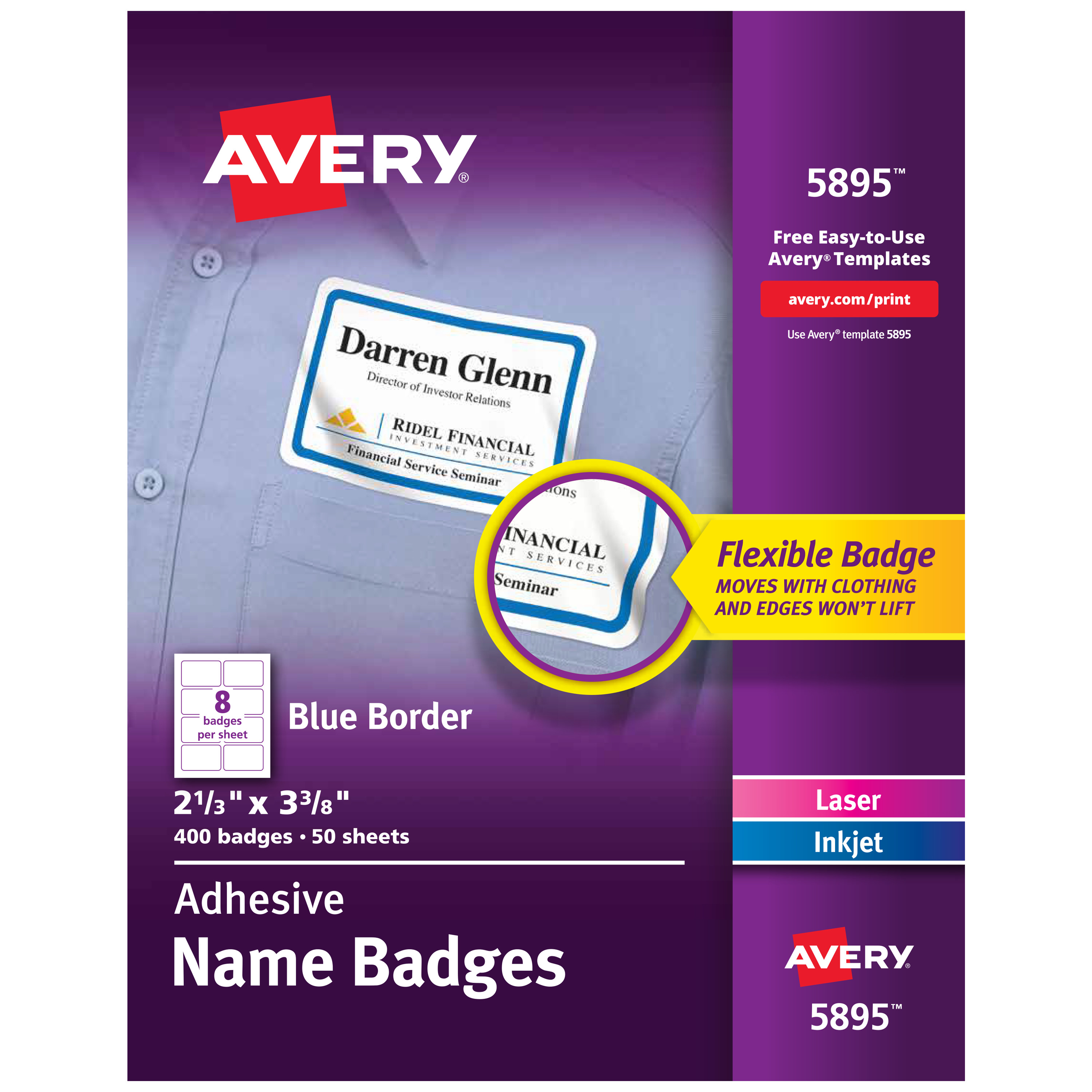 Flexible Self-Adhesive Laser/Inkjet Name Badge Labels, 2 1/3 x 3 3/8, BE, 400/BX