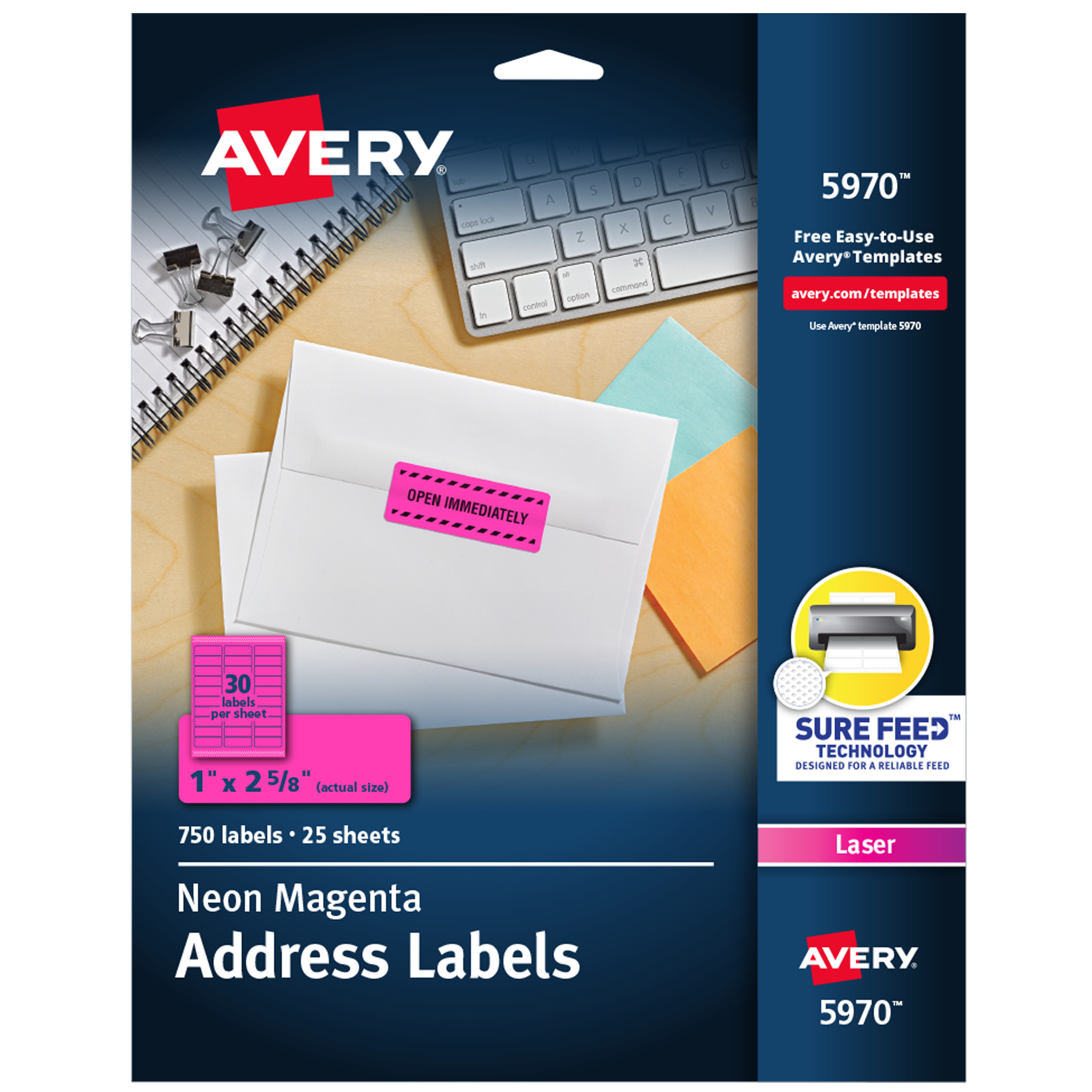 High-Visibility Permanent ID Labels, Laser, 1 x 2 5/8, Neon Magenta, 750/Pack
