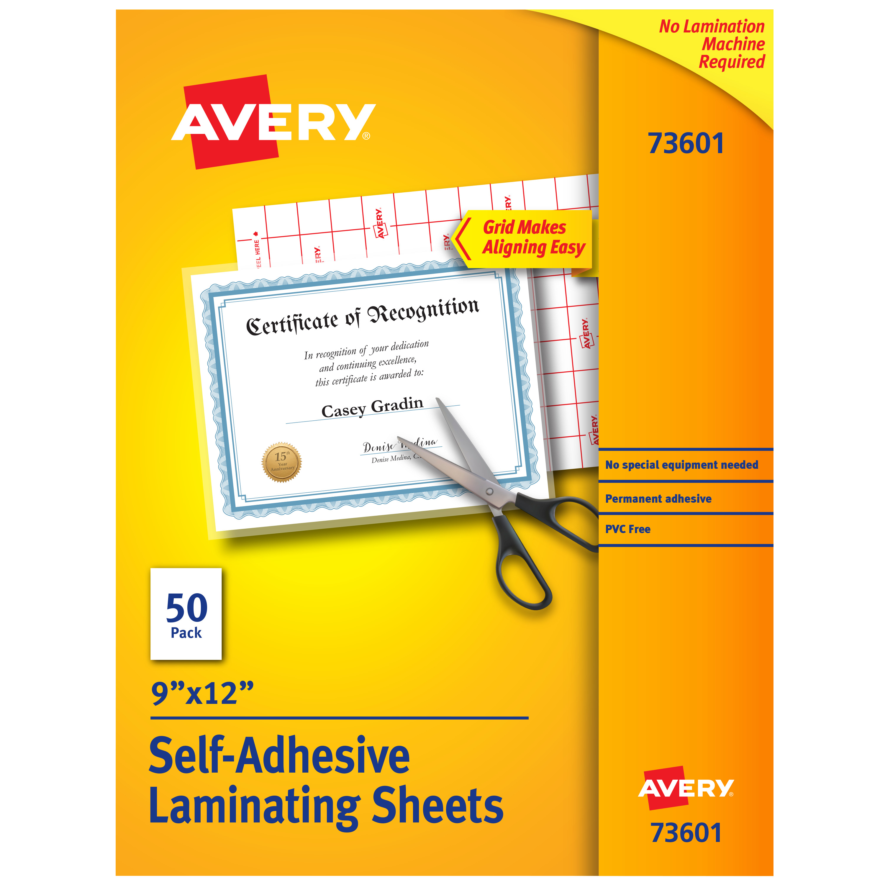 Clear Self-Adhesive Laminating Sheets, 3 mil, 9 x 12, 50/Box