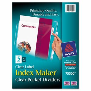Index Maker Print & Apply Clear Label Sheet Protector Dividers, 5-Tab, Letter