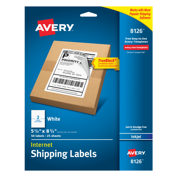 Shipping Labels w/Ultrahold & TrueBlock, Inkjet, 5 1/2 x 8 1/2, White, 50/Pack