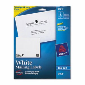 Shipping Labels with TrueBlock Technology, Inkjet, 3 1/3 x 4, White, 150/Pack