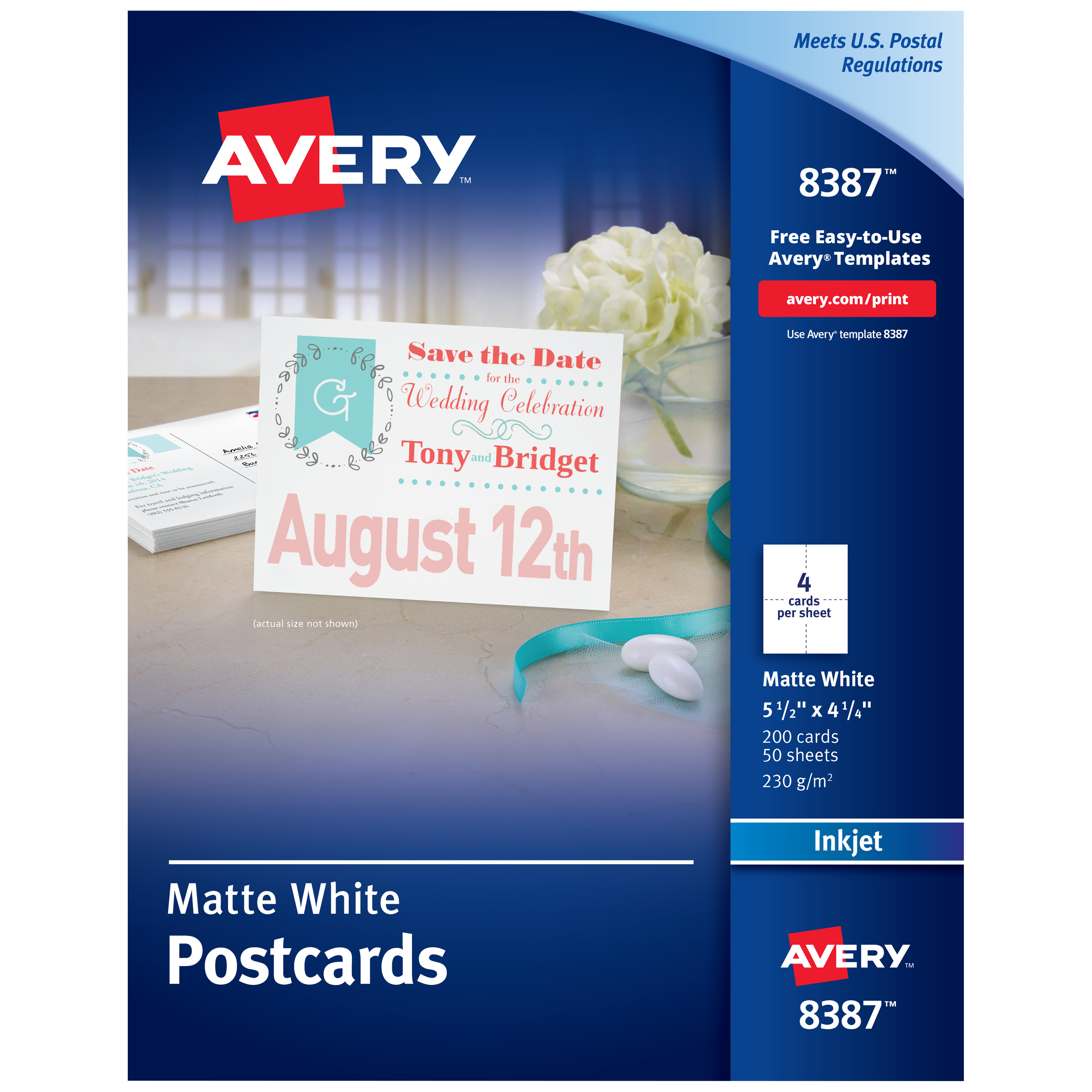 Postcards for Inkjet Printers, 4 1/4 x 5 1/2, Matte White, 4/Sheet, 200/Box