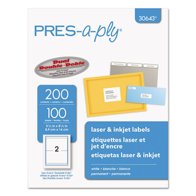 Laser/Inkjet Shipping Labels, 5 1/2 x 8 1/2, White, 200/Pack