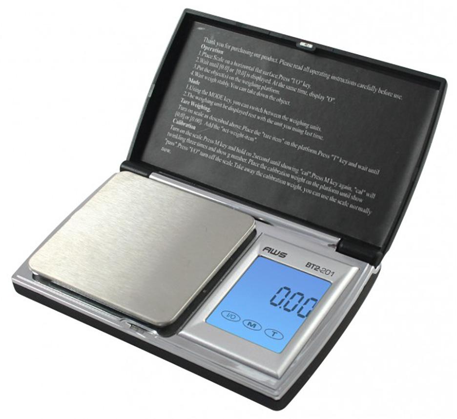 American Weigh Scale Bt2-201 Digital Gram Pocket Grain Jewelry Scale Black 200 X 0.01 G