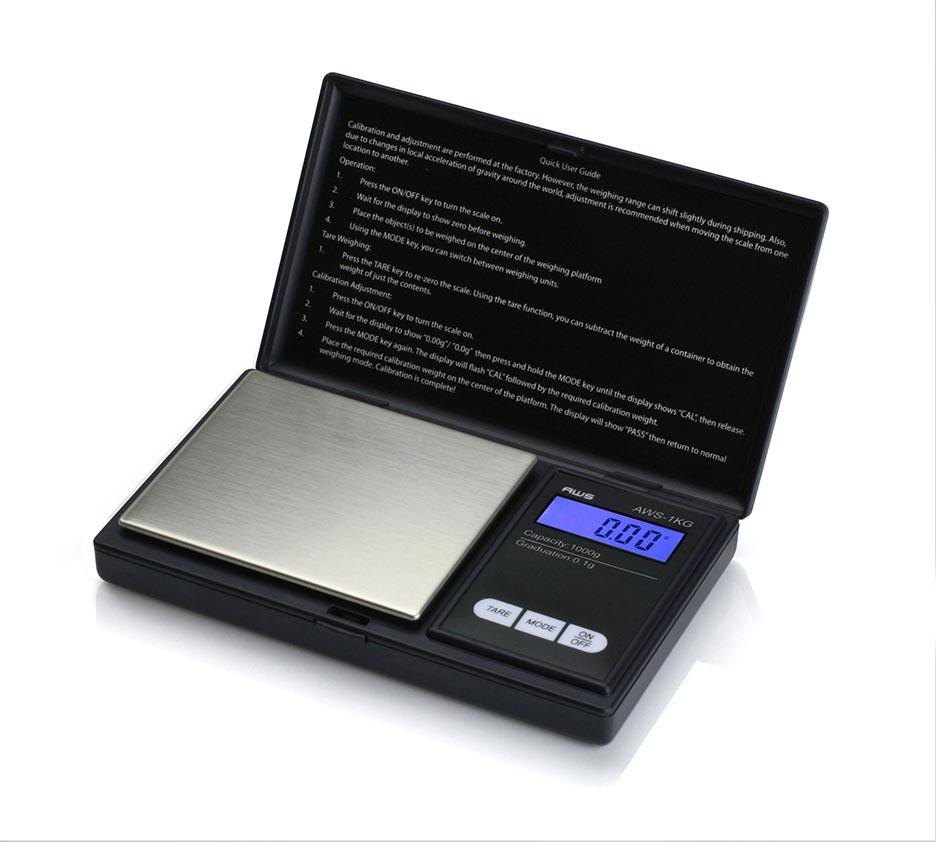 American Weigh 1KG Digital Pocket Scale 1000 x 0.1g Black